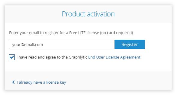 Graphlytic LITE Server activation - enter email address