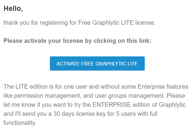 Graphlytic LITE Server activation - confirmation email